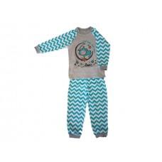 Pižama Zik-Zag sivo-turkizna